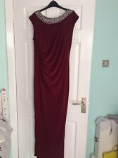 Evening  dress, by Wallis , deep burgundy colour with jewelled neckline .