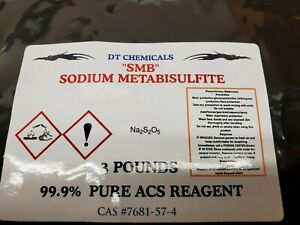 """SODIUM METABISULFITE """"SMB"""" GOLD REFINING 3 POUND AIR TIGHT RESEALABLE BAG"""