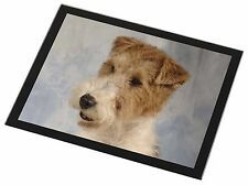 Fox Terrier Dog Black Rim Glass Placemat Animal Table Gift, AD-WHT1GP