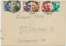 AUSTRIA OSTERREICH BUSTA COVER 1954 TO MUNCHEN GERMANIA - 6 STAMPS