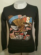 3D Emblem 1986 Born In The USA Motorcycle long-sleeve thermal waffle Shirt Eagle