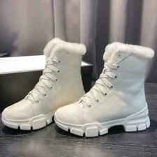 Women Winter Martin Boots Platform white Leather Wool Lining Warm Ankle Shoes