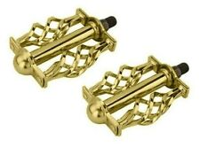 """Vingtage Style Lowrider Krate PedalBicycle Twisted Caged Pedal  1/2"""" Gold Custom"""