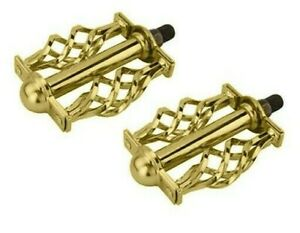 "Vingtage Style Lowrider Krate PedalBicycle Twisted Caged Pedal  1/2"" Gold Custom"