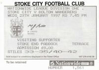 Ticket - Stoke City v Bolton Wanderers 29.01.97
