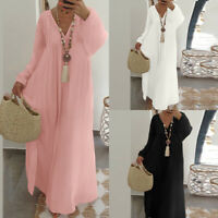S-5XL Women Long Sleeve Cotton Loose Long Maxi Dress Kaftan V Neck Bohemia Dress