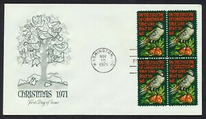 #1445 8c Christmas 1971-Block of 4, Artmaster-Add FDC **ANY 5=FREE SHIPPING**