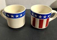 Set of 2 Vintage Sambo's Has It Coffee Mugs USA Patriotic Red Blue Stars