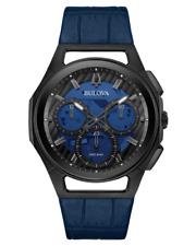 New Bulova Men's Curv 98A232 Chronograph Blue Leather 44mm Watch
