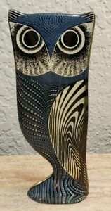 """Abraham Palatnik Lucite Owl Night Day Op Art Sculpture Blue Black Brazil 7 3/4"""""""
