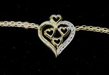 New 14k Solid Gold Triple Hearts Diamond Anklet #727y