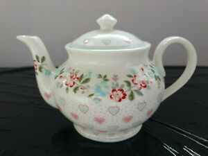 Teekanne Porzellan Greengate Sonia white Kanne Tee Kaffeekanne neu