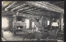 REAL PHOTO POSTCARD HOUGHTON LAKE MI/MICHIGAN JOHNSON'S RUSTIC RESORT LOBBY 30'S