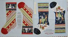 "Christmas Fabric Panel - 24"" Joy Love Peace Noel Stockings Henry Glass"