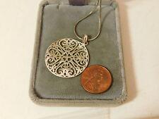 "Sterling Silver 925 Open Flower Heart Pendant 18"" Snake chain Necklace 8L 38"