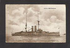 POSTCARD:  H.M.S. BRITANNIA - BRITISH ROYAL NAVY WORLD WAR 1 BATTLESHIP
