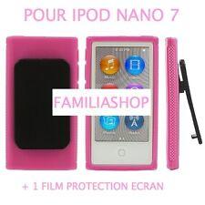 Housse etui coque silicone rose avec Clip pour iPod Nano 7 7G  + Film protection