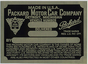 Packard Cowl Plate  1926 VIN ID Identification I can make most any plate USA