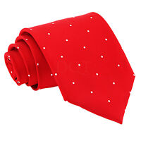 DQT Men's Classic Tie Woven Pin Dot Dotted Red Formal Casual Necktie