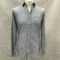 Mens Size Medium Blue And White Stripe Soft Touch Long Sleeve Shirt Casual