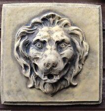 """Cabeza de león Fuente de jardín cuadrada Placa de pared Máscara a Prueba de Heladas Piedra 28cm/11"""" Sq"""