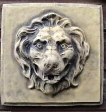 "Lion Head Square Garden Plaque Murale Fontaine Masque Frost Preuve Stone 28cm/11"" SQ"