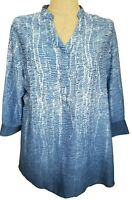 Soft Surroundings Blue White Ombre Hi Low 3/4 Sleeve Brigitte Tunic Top Large