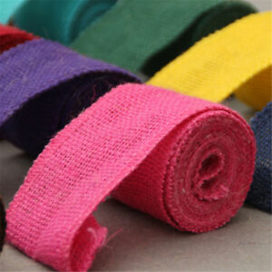 1 Roll of Burlap Fabric Ribbon 2 Meters Finished Edges Handicraft Accessories
