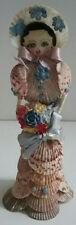 Beauty Blue Shell Lady Woman Folk Art Handmade Beauty Sea Shore Vintage 1930's