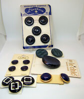 Vintage 1960's Mod Buttons New Old Stock Shades of Blue on Original Cards