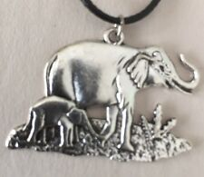Mother Elephant And Baby Calf Necklace.
