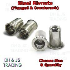 Steel Rivnuts Countersunk & Flanged Knurled Head Open Threaded Nutsert Rivet Nut