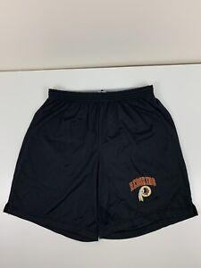 VTG Washington Redskins Champion Black Gym Shorts Men Size L Large NFL Nylon EUC