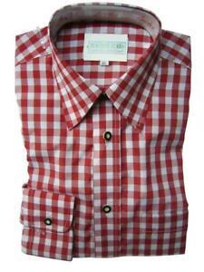 Original Trachtenhemd Fb. rot - kariert NEU Gr. XS - XXL