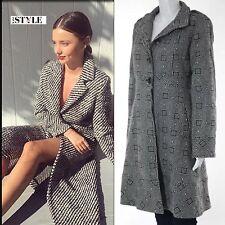 Tibi White Black Wool Geometric Print Long Sleeve Button Front Coat 8US 10/12UK