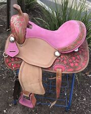 "17"" New Leather Pink/Magenta Western Show Saddle-Pink crystal(close Out)"