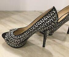 Enzo Angiolini Eashowyou Black 8.5 Stone Bling Pumps Jeweled Heels Shoes