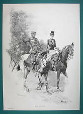 OFFICER on Horse Lady Side Saddle Flirting - VICTORIAN Era Print Engraving