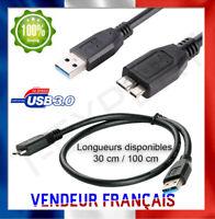 Câble Micro USB B 3.0 Super Speed pour Disque Dur Externe WD Toshiba Canvio Noir