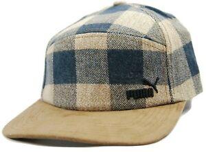 Puma Tan Buffalo Plaid Hunter Adjustable 5 Panel Camper Racer Style Cap Hat