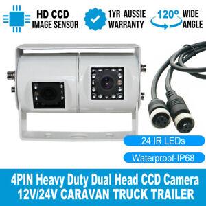 White Dual Joint Bracket 2x 4 PIN CCD IR Car Rear View Camera 12v 24v Truck Van