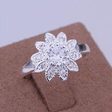 925 Sterling Silber Damen Ring Verlobungsring Ehering Sunflower Ring Gr.18 Neu