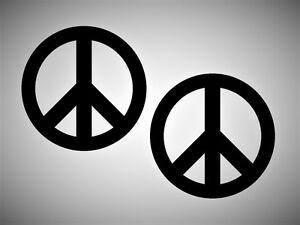 2x Peace Frieden Aufkleber SCHWARZ Autoaufkleber für Heckscheibe, Wandtattoo