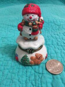 Vintage Porcelain Snowman Christmas Hinged Tinket Box