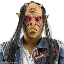 Scary Funny Red Eyes Devil Halloween Latex Mask with Wig for Masquerade Party