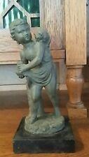 Antique Spelter Metal Sculpture/Statue Roman Green Boy with Cat on Shoulder