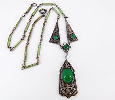 Art Deco Chrysoprase Green Glass, Enamel, & Silver Plate Filigree Necklace