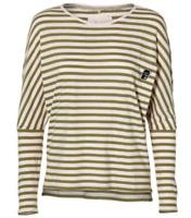 ONeill Womens Ess Striped Long Sleeve Top Pink / Green Size Medium UK 10 RRP £25