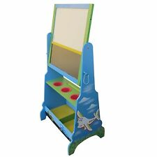 KIDS EASEL CHILDS BLACKBOARD CAR AND PLANE TODDLERS WHITEBOARD TOY ART