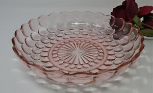 """Anchor Hocking Bubble Pink Low Flat Serving Bowl 8.5"""""""